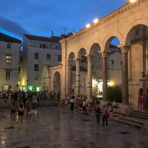 Courtyard of St. Duje's cathedral in Split at night