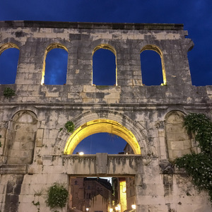 Walls of Split's Diocletian Palace at night