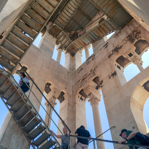 Climbing the stairs in the bell tower of St. Duje's Cathedral, Split