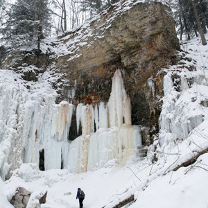 At the base of Tiffany Falls in winter