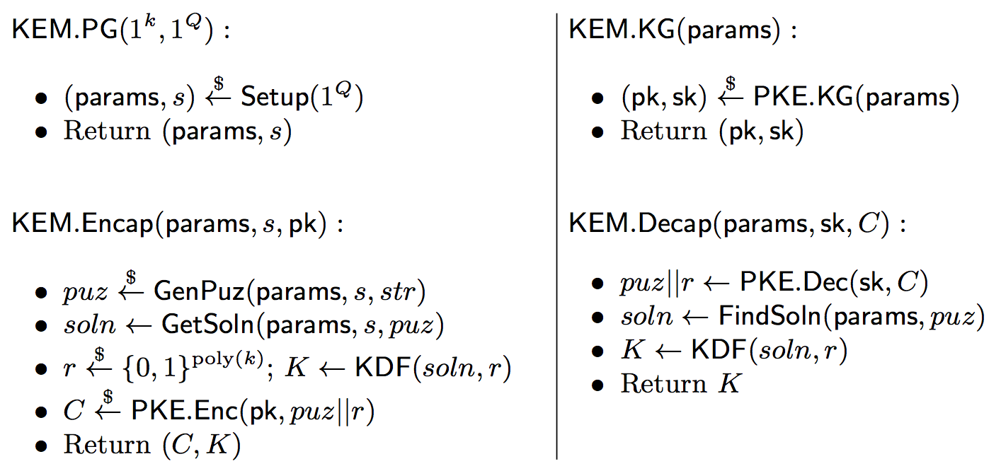 Construction of an effort-released KEM from public key encryption and a client puzzle.