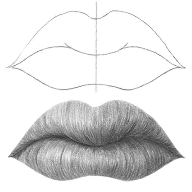 mouth drawings in pencil