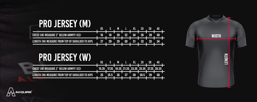 Size Chart for Jersey