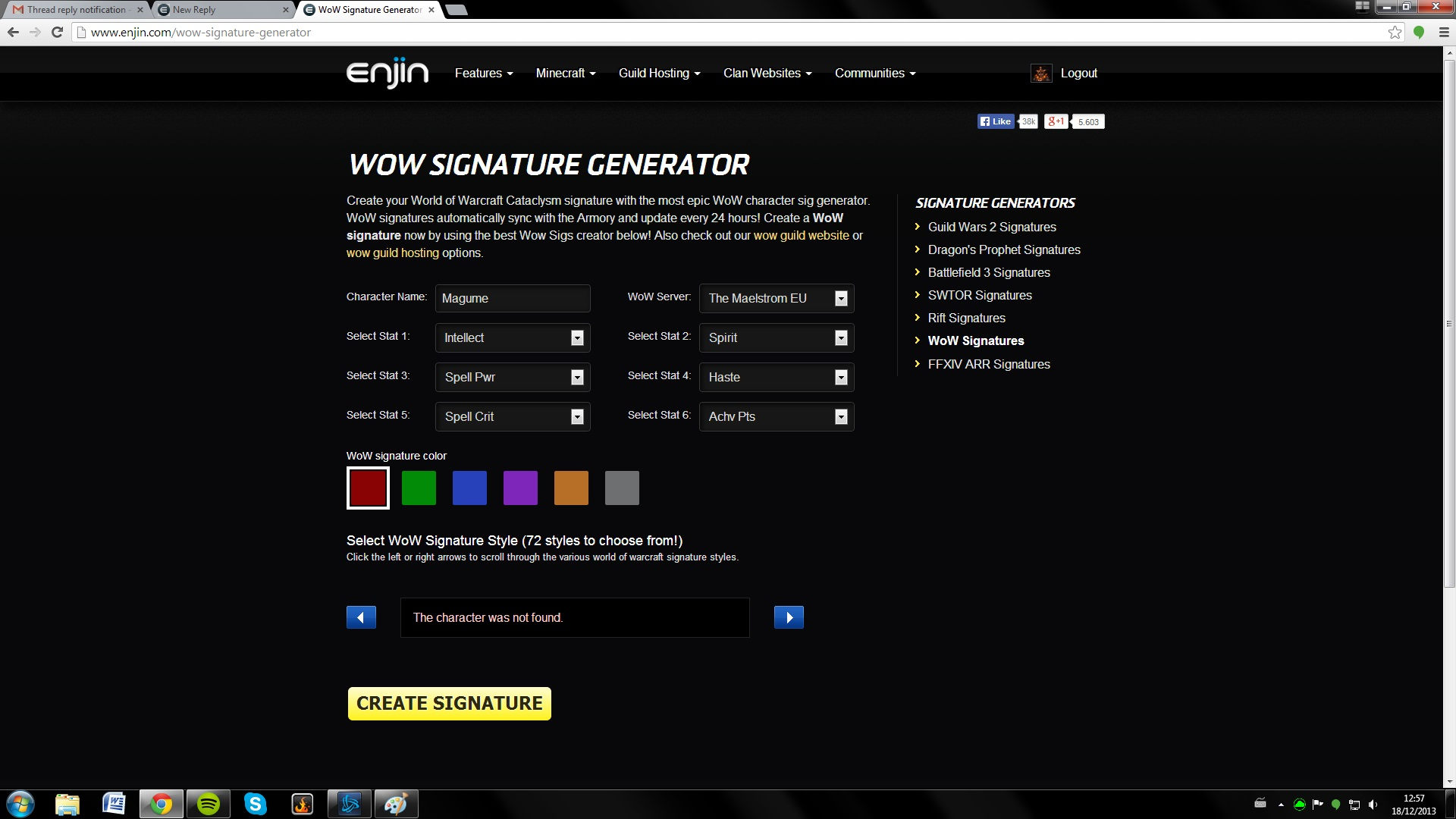 WoW Signature Generator Characters Not Found