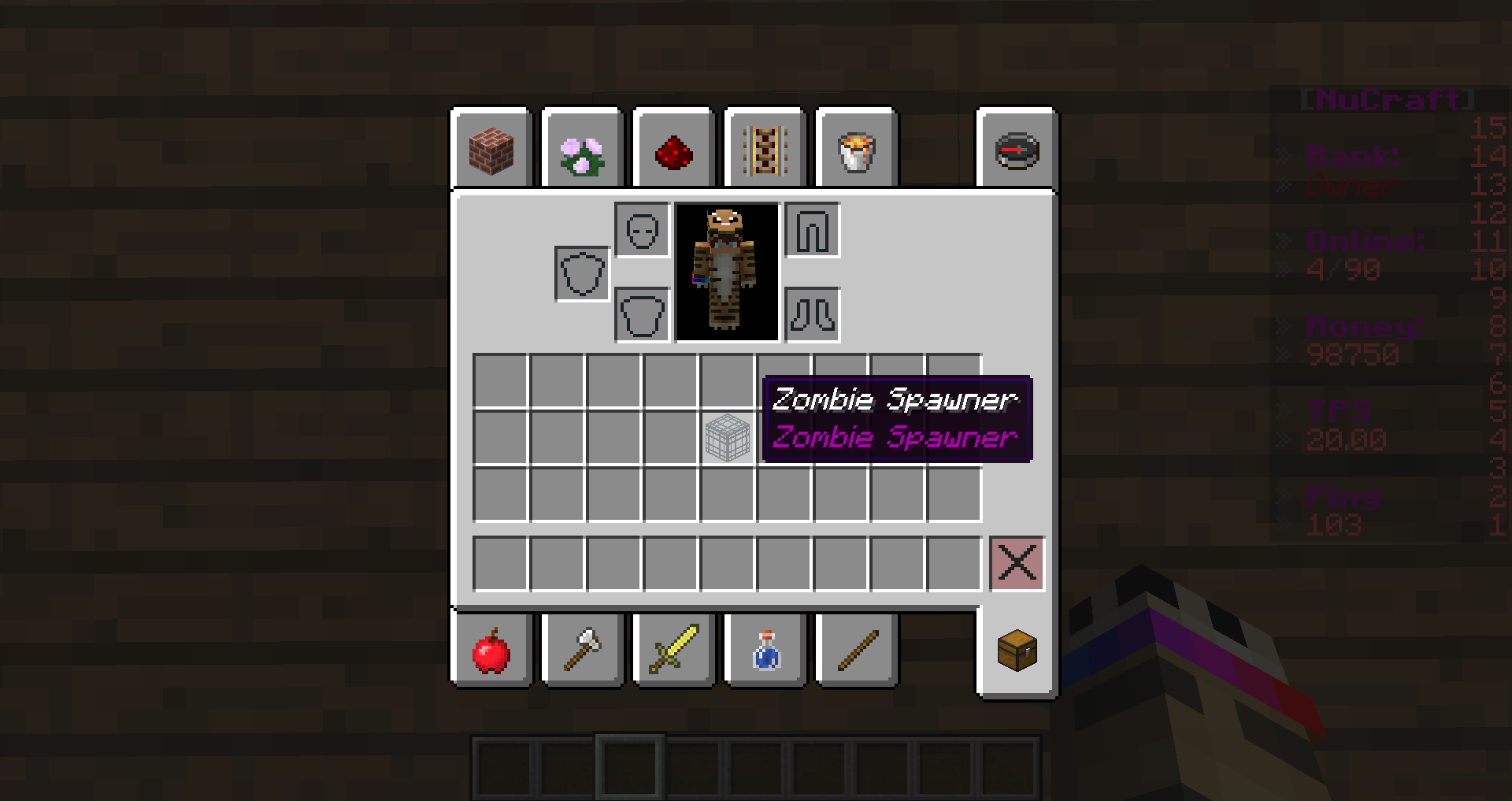Spawners when mined.
