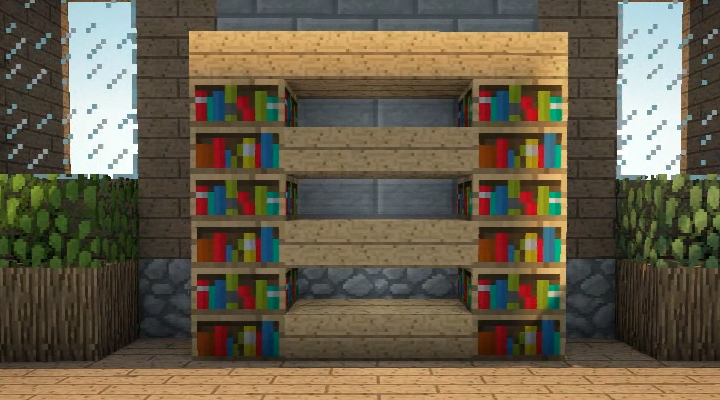Adding Shelves to the side of a Bookcase using Stair Blocks. - Minecraft Furniture - Storage