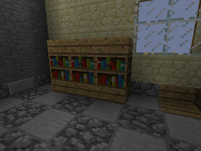 This bookshelf was built on a Slab Floor to achieve these interesting  dimensions. - Minecraft Furniture - Storage
