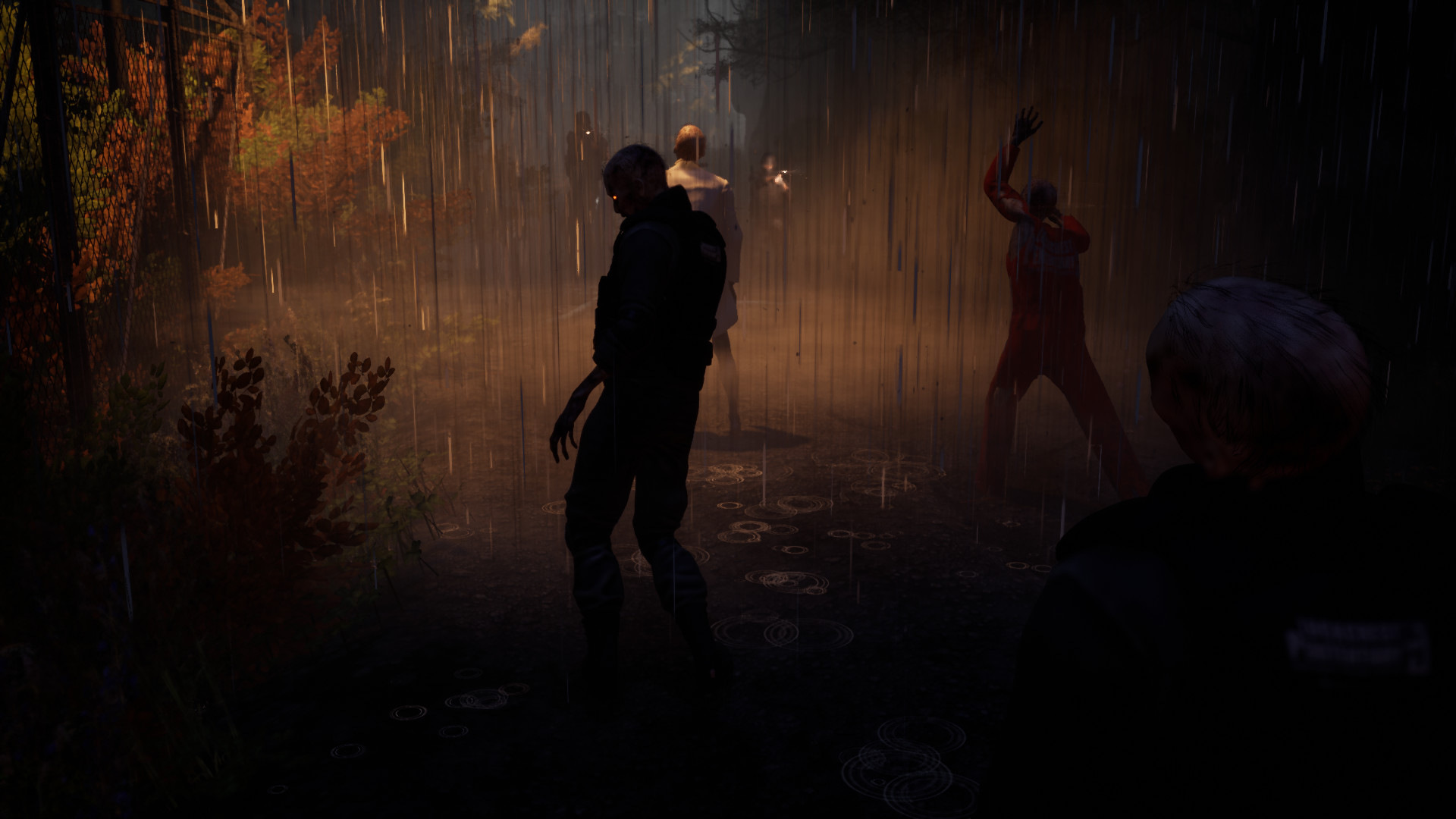 JoE Zombies walking at night in a forest on a trail barely lit be light poles