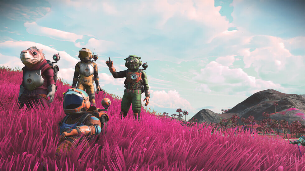 team of 4 no mans sky players looking at the camera and waving