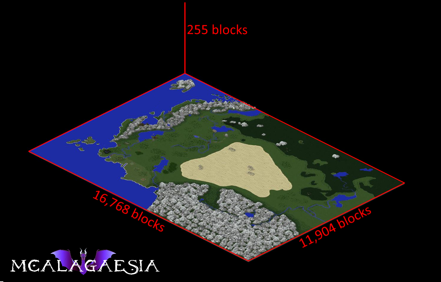 Map of MCAlagaesia with dimensions marked