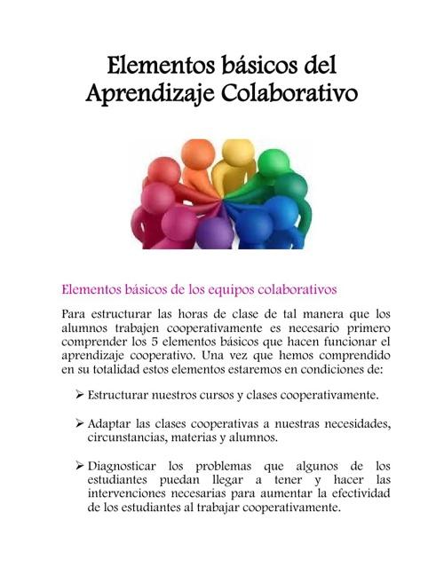 Elementos básicos del Aprendizaje Colaborativo