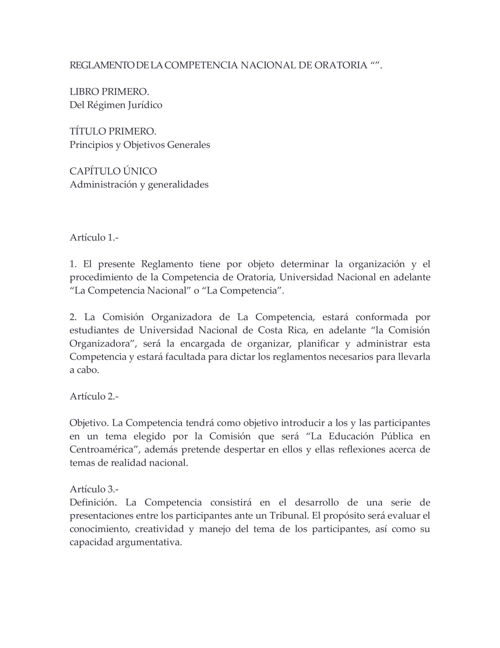 REGLAMENTO DE LA COMPETENCIA NACIONAL DE ORATORIA FEUNA
