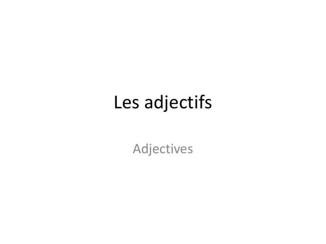Adjectifs (S)
