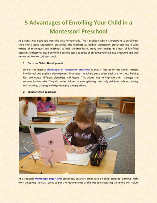 5 Advantages of Enrolling Your Child in a Montessori Preschool