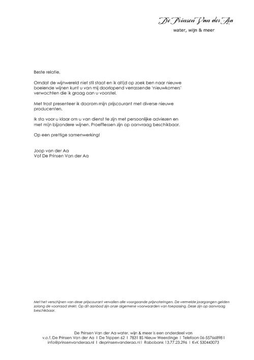 Prijscourant juli 2012 De Prinsen Van der Aa