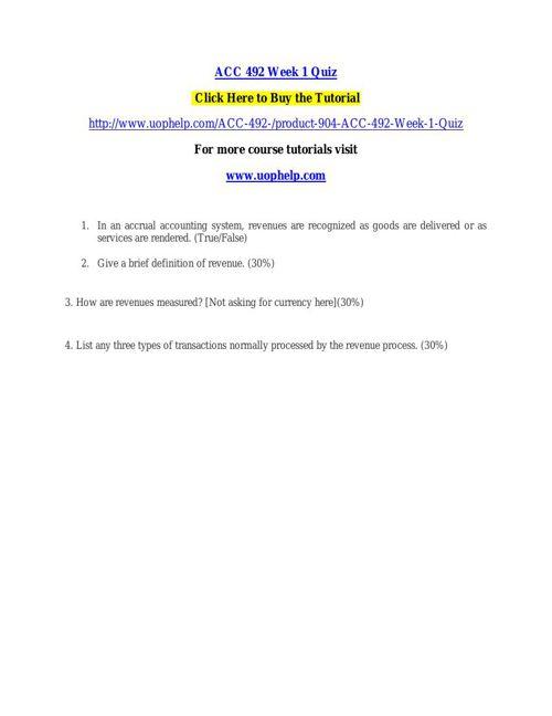ACC 492 Week 1 Quiz