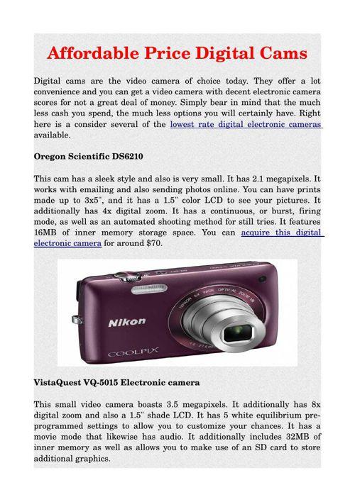 Affordable Price Digital Cams