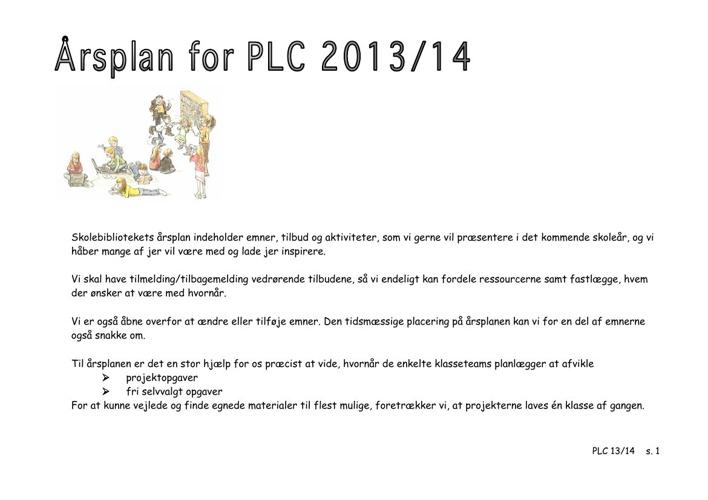 Skolebibliotekets årsplan201314
