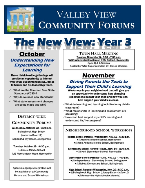 VVSD Community Forum - Fall 2013