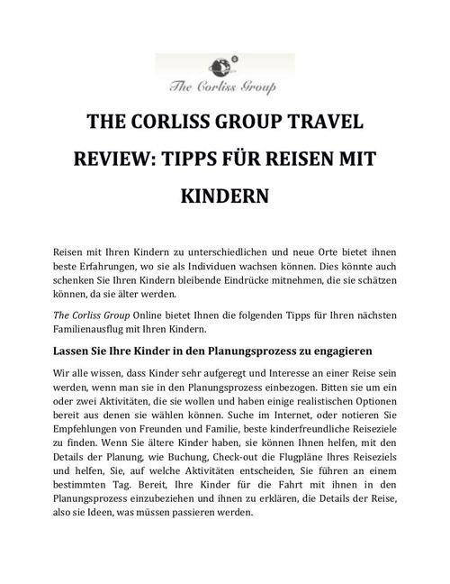 THE CORLISS GROUP TRAVEL REVIEW - TIPPS FÜR REISEN MIT KINDERN