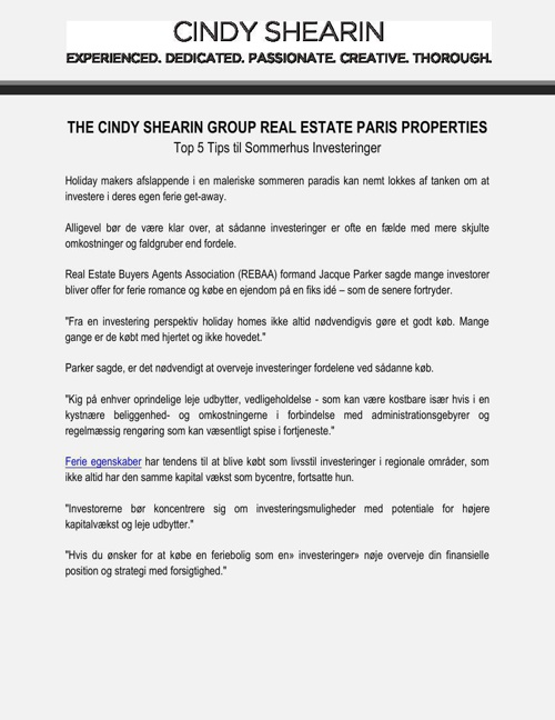 The Cindy Shearin Group Real Estate Paris Properties