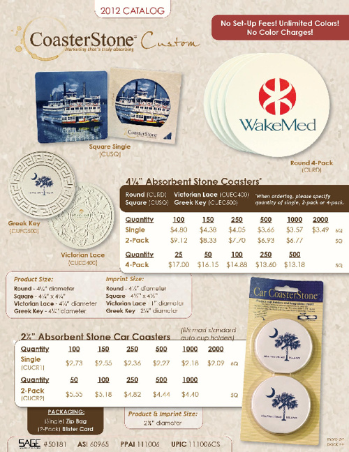 Custom Coasters E-Catalog