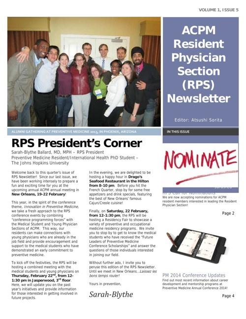 RPS Newsletter - 2/6/14