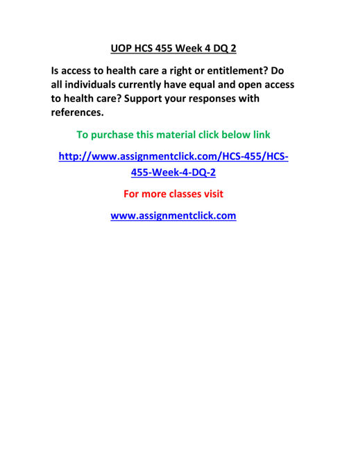 UOP HCS 455 Week 4 DQ 2