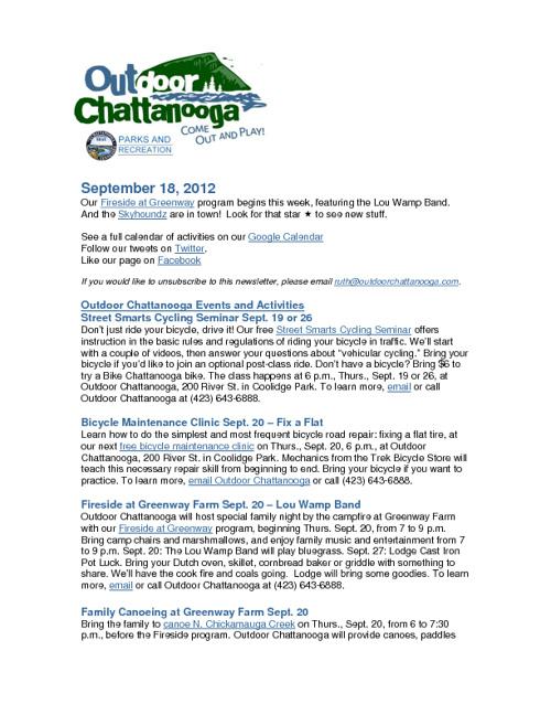Outdoor Chattanooga News and Events Sept. 18, 2012