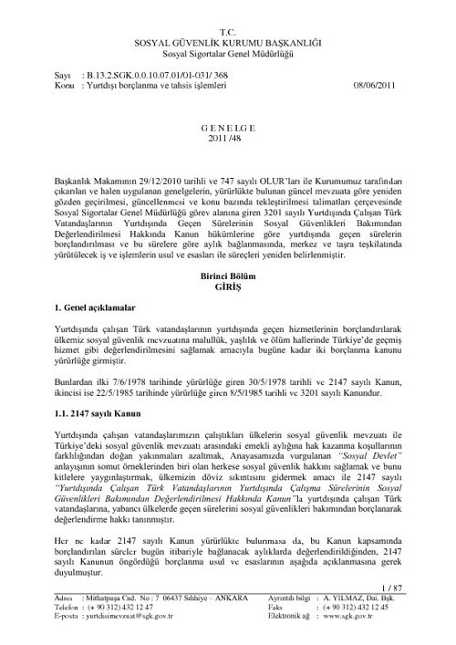 yurt dışı borçlanma ve tahsis işlemleri çalışma dünyası www.cali