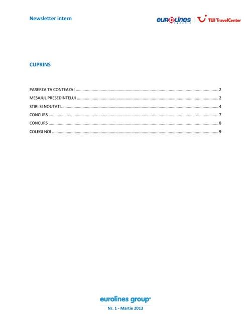 Newsletter 1 - Martie 2013