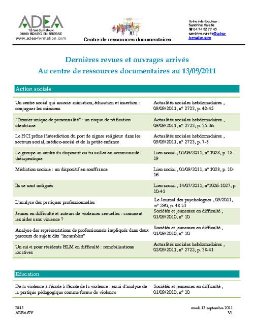 Dernières revues et ouvrages arrivés au CRD au 13/09/2011