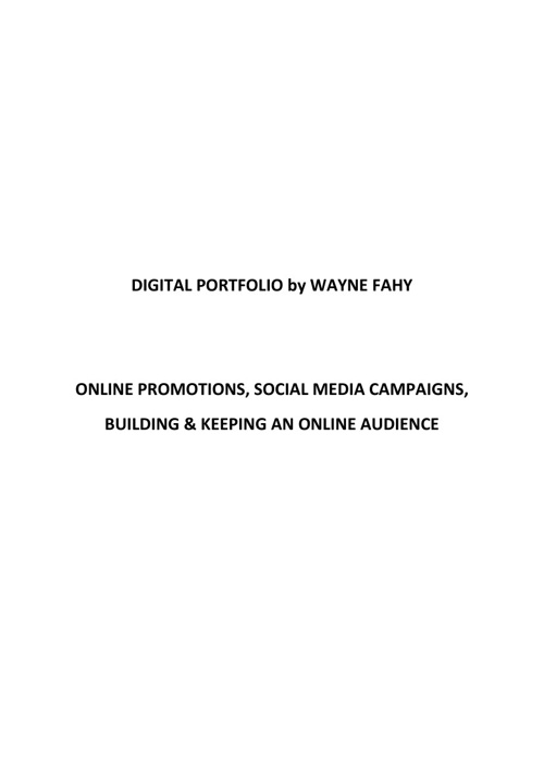 Social media and events promotion portfolio