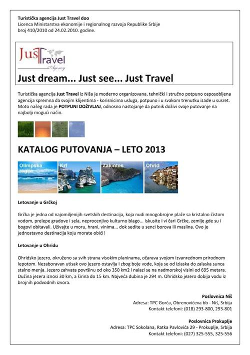 Just Travel, katalog putovanja - leto 2013