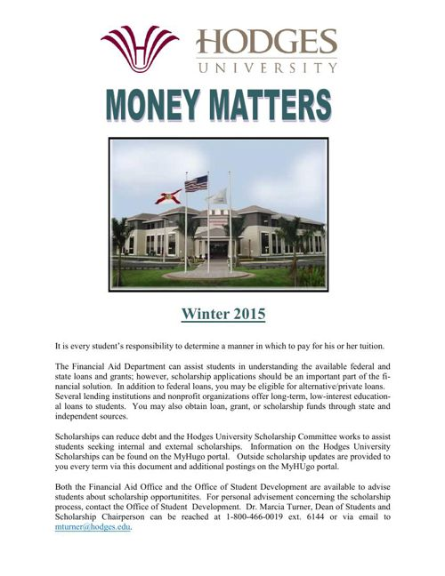 Money Matters Winter 2015