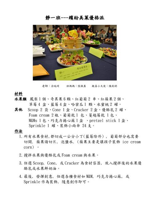 2011~2012 TzuChi Academy  Veg Menu