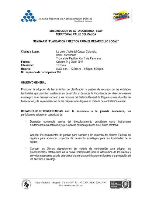Oct 24 y 25, Hotel Los Viñedos, Capacitación con la ESAP