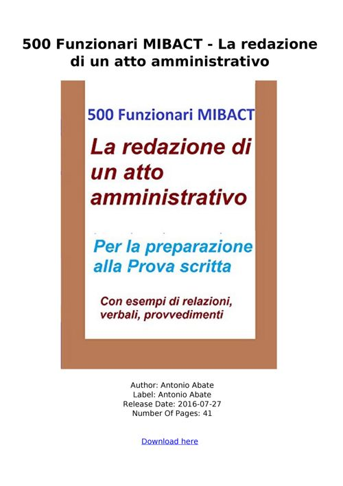 SCARICA 500 Funzionari MIBACT redazione amministrativo pdf