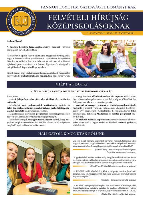 PE-GTK Felvételi Hírújság Középiskolásoknak 2016. október