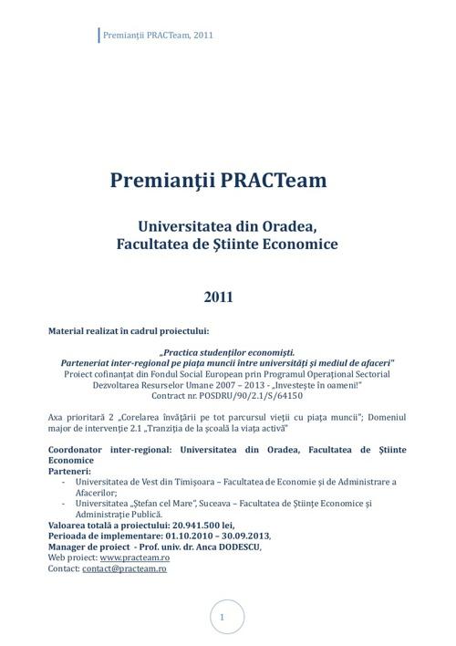 PRACTeam - Volum prezentare Premianți Oradea, 2011
