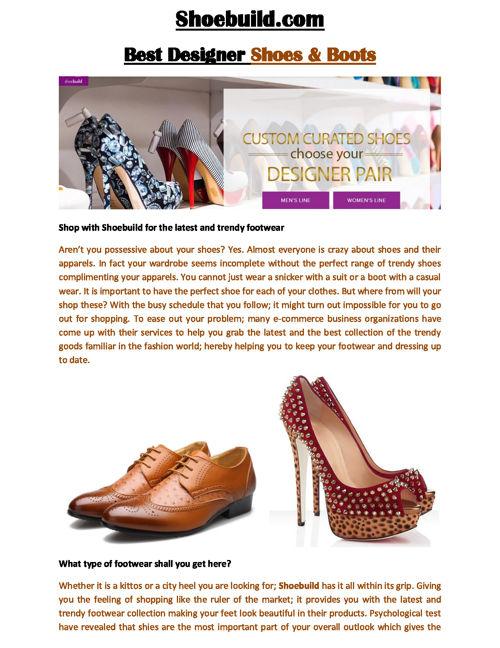 ShoeBuild - Shoe Build (ShoeBuild.com)