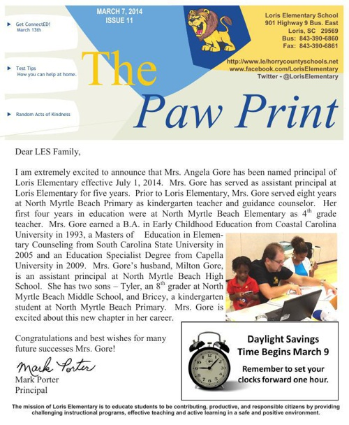 3-7-14 Issue XI The Paw Print