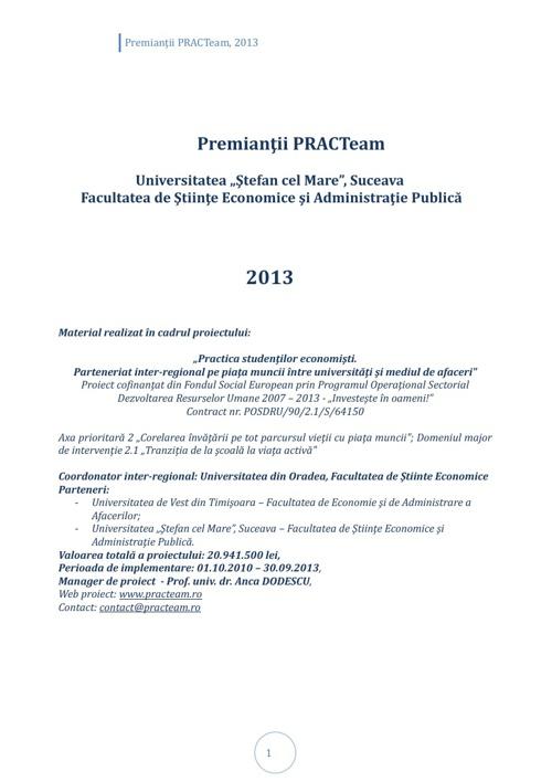 PRACTeam - Volum prezentare Premianți Suceava, 2013