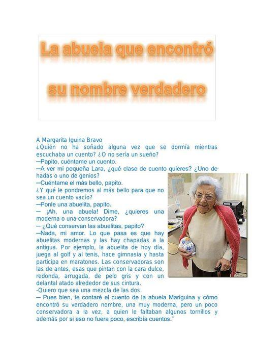 cuento quinto bachillerato A Margarita Iguina Bravo