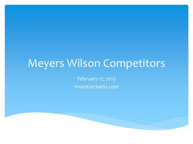 Meyers Wilson Investorclaims