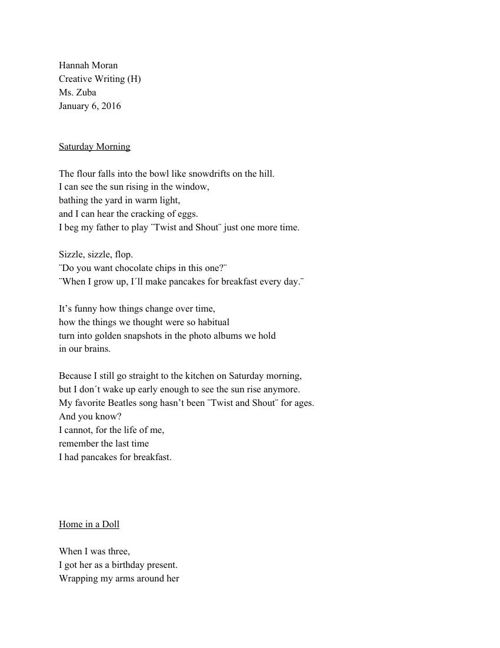 Free Verse Poems Final Copy