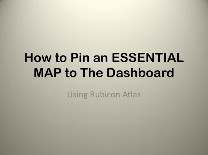 How to Pin an ESSENTIAL MAP