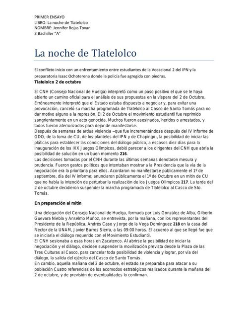 La noche de Tlatelolco Primer ensayo.