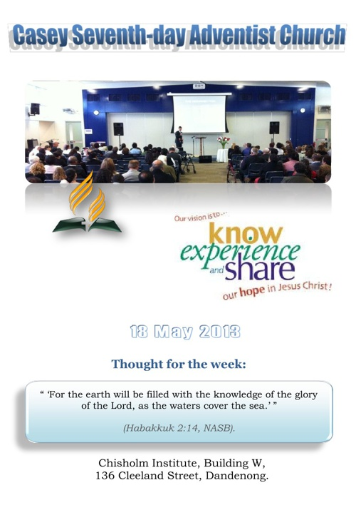 Church Bulletin 18 May 2013