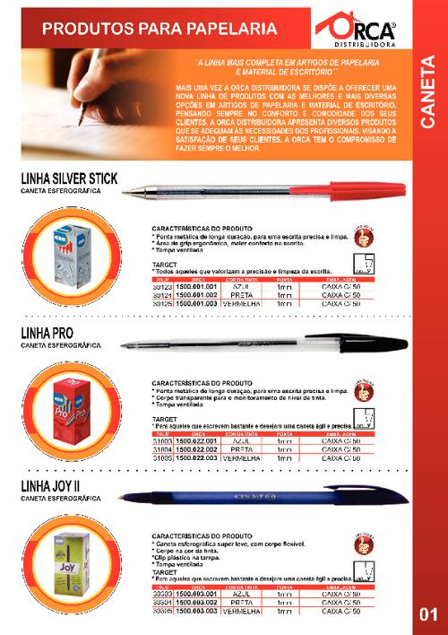 Catálogo Orca Distribuidora - Papelaria 001 a 010